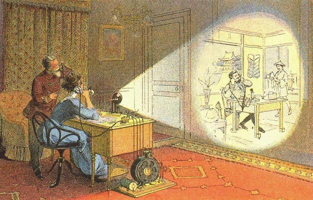 """Protótipo do Skype imaginado em 1912. Em 2012 o """"picturephone"""" seria uma forma moderna de comunicação com outros continentes."""