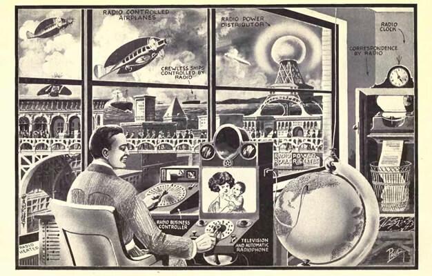 """Gps, skype, impressora, wifi e drones na megacidade. """"Radio for All"""" de Frank R. Paul (1922)"""